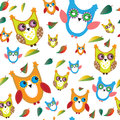 Colorful owls and autumn leaves