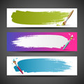 Colorful Paint brush background set Royalty Free Stock Photography