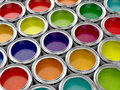 Colorful paint cans d illustration of set Stock Photography