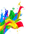 Colorful paint splashes isolated on white abstract splashing Royalty Free Stock Photo