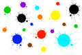 Colorful paint splashes on white Royalty Free Stock Photos