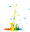 Colorful paint splashing on white background Stock Photography