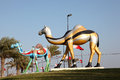 Colorful painted camels in manama bahrain kingdom of middle east Royalty Free Stock Image