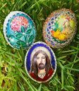 Colorful painted easter eggs growing green wheat Royalty Free Stock Photography