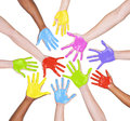 Colorful painted hands multi ethnic on white Stock Photo