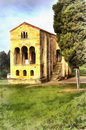 Colorful painting of Church of St Mary at Mount Naranco