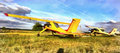 Colorful painting of light aircraft planes parked at a grass airfield