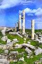 Colorful painting of roman city Apamea Royalty Free Stock Photo