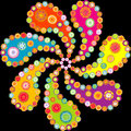 Colorful paisley spiral over black background Royalty Free Stock Photo