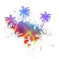 Colorful Palm Trees Grunge Stock Images