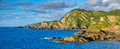 Colorful panorama of the north coast of Devon Royalty Free Stock Photo