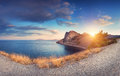 Colorful panoramic mountain landscape at sunset in summer Royalty Free Stock Photo
