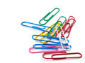 Colorful paper clip on white background.