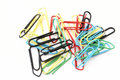 Colorful paper clips on white Royalty Free Stock Photography