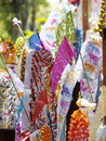 Colorful paper flags as traditional decorative elements in buddhism ceremony in thailand Stock Photo