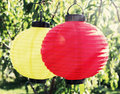 Colorful paper lantern lamps in the garden Stock Photo