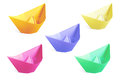 Colorful paper ships isolated on a white Stock Photo