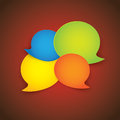 Colorful paper speech bubbles on red gradient background graphic illustration Royalty Free Stock Photography