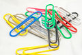 Colorful paperclips for office use Royalty Free Stock Photo