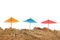 Colorful parasols at the beach Royalty Free Stock Photo
