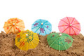 Colorful parasols at the beach Stock Photos