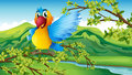 A colorful parrot in the forest illustration of Stock Photography