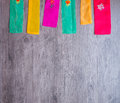 Colorful part of korean dress on wood background