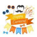 Colorful Party items on a white background. Celebration Event Happy Birthday. Inscription Carnival . Multicolored. Vector Royalty Free Stock Photo