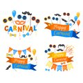 Colorful Party items on a white background. Celebration Event Happy Birthday. Inscription Happy Carnival . Multicolored. Vector Royalty Free Stock Photo