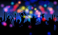 Colorful party people silhouettes Stock Photo