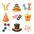 Colorful Party set of items on a white background. Celebration Event Happy Birthday. Multicolored. Vector