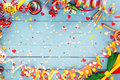 Colorful party streamer and bow tie border Royalty Free Stock Photo