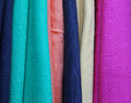 Colorful pashmina closeup assortment of soft scarves Stock Images