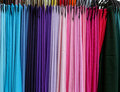 Colorful pashmina scarves arranged by color shades Stock Photography