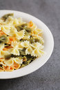 Colorful pasta cooked tricolore farfalle on plate Stock Photos