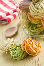 Colorful pasta tagliatelle Stock Image