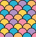 Colorful pastel scale seamless pattern black outline