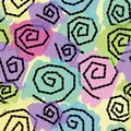 Colorful pastel seamless pattern with spirals