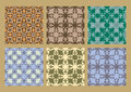 Colorful pastel set of seamless floral patterns vintage backgrounds Royalty Free Stock Photo