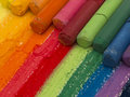 Colorful pastels close up of including red green blue orange purple Stock Photography