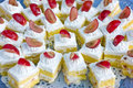 Colorful pastry display Royalty Free Stock Images