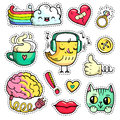Vector Colorful patch badges with fashion elements and animals. Hand-drawn stickers, pins in cartoon 80s-90s comic style.