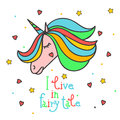 Colorful patch with unicorn, heart, star, in bright rainbow colors. Hand drawn  Illustration with lettering for kid textile, Royalty Free Stock Photo