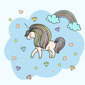 Colorful patch with unicorn, heart, star, diamond, crystal, bright rainbow. Hand drawn  Illustration for kid textile, card, Royalty Free Stock Photo