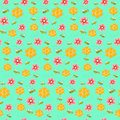 Colorful pattern with bees, flowers and honeycombs