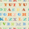 Colorful pattern with english floral letters seamless alphabets Stock Image