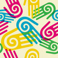 Colorful Pattern hands with spiral symbol Royalty Free Stock Photo