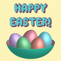 Colorful pattern painted Easter eggs in green plate on yellow background. Easter vintage greeting card, invitation, poster, banner