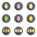 Colorful patterned eggs flat modern icon set Royalty Free Stock Photo