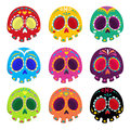 Colorful patterned skull set, Mexican day of the dead.
